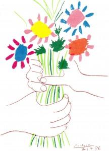 P.ピカソ『ブーケ』 花束を二人で持っています。